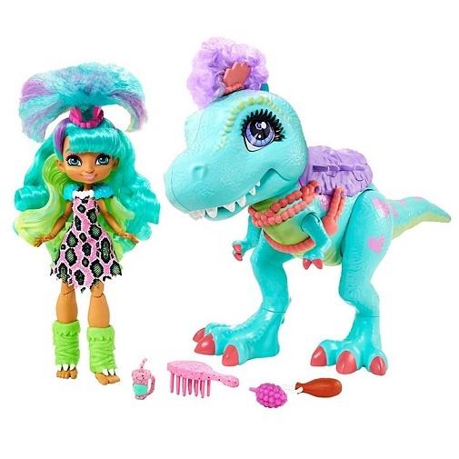 Игровой набор Рокелль и Динозавр Т-Рекс «Пещерный клуб» Cave Club Mattel