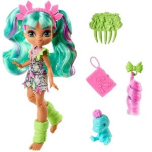 Кукла Рокель и малыш Тедди-Рекс «Пещерный клуб» 25 см Cave Club Mattel